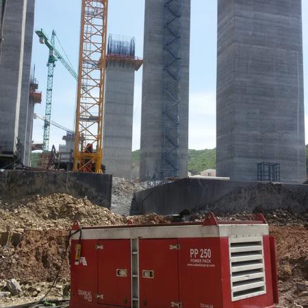 Crane Suspended Vibro with its Power Pack PP 250 Third Bosphorus Bridge