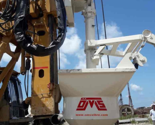 Drill Rig Mounted Vibroflotation Method Bunker Left View