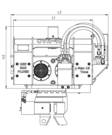 OVR 40 S Front View Wireframe Technical Drawing