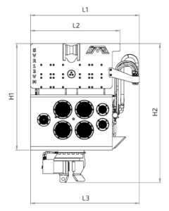 SVR 12 VM Front View Wireframe Technical Drawing
