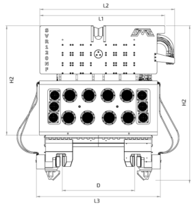 SVR 120 NF Front View Wireframe Technical Drawing