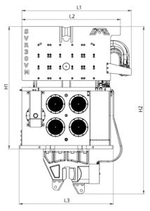 SVR 30 VM Front View Wireframe Technical Drawing