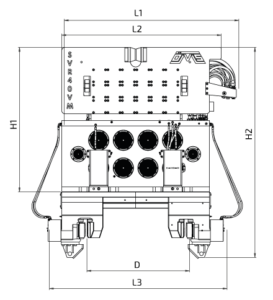 SVR 40 VM Front View Wireframe Technical Drawing