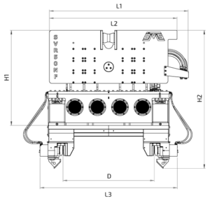 SVR 50 NF Front View Wireframe Technical Drawing