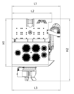 SVR 8 VM Front View Wireframe Technical Drawing
