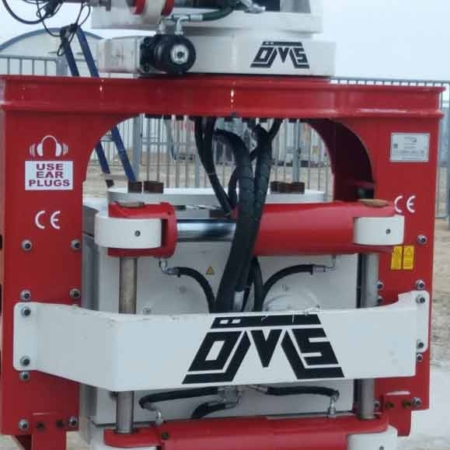 Side Grip Tube Pile Driver Red Back View
