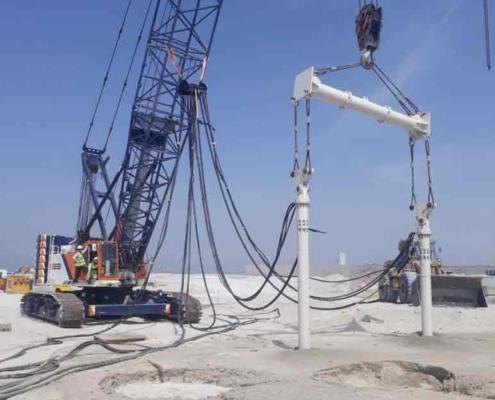 Tandem Vibro Compaction Equipment Creating Stone Columns On Jobsite